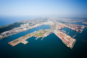 Foto op Plexiglas Afrika overhead view of durban harbor, south africa