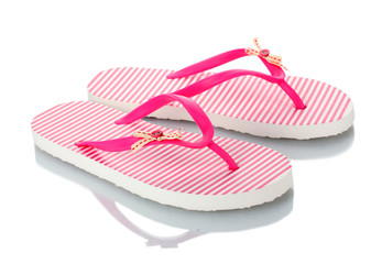 pink beach shoes isolated on white.