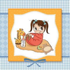 little baby girl play with her toy  baby shower card
