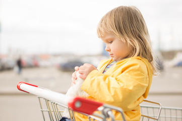 Adorable baby sit in supermarket cart