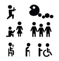 Vector - Human lifestyle signs.Childhood,adult and old age.