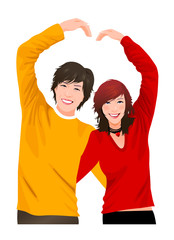 Close-up of couple making a heart symbol with their hands