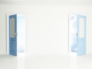 Two open doors in the interior