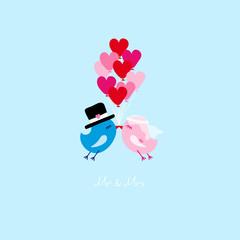 Birds Wedding Flying 9 Heart Balloons Blue