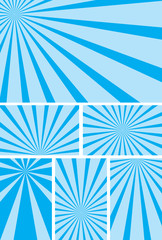 blue backgrounds with radial rays - vector set