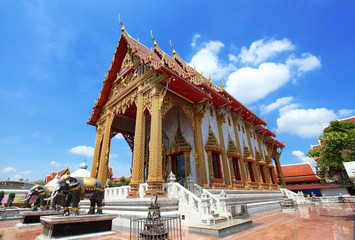 Thai temple with blue sky background (Samiennaree temple )