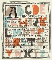 alphabet sets altogether on a layout