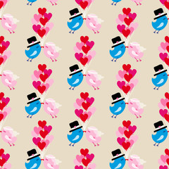 Seamless Pattern Birds Wedding Flying 9 Heart Balloons