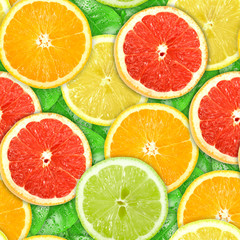Aluminium Prints Slices of fruit Seamless pattern with motley citrus-fruit slices
