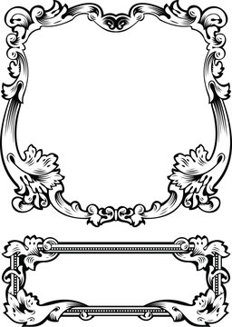 Antique Frame Engraving, Scalable And Editable Vector Illustrati