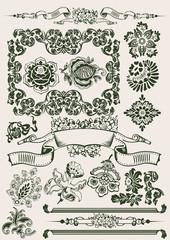 One Color Flowers Vintage Clipart