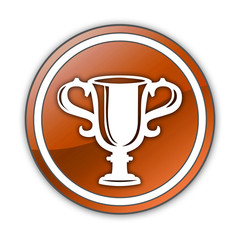 "Orange Glossy Button ""Award Cup"""