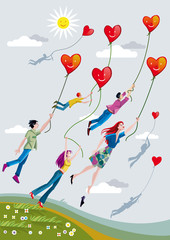 People Flying With Hearts
