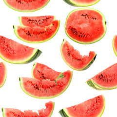 Tuinposter Plakjes fruit Background with red slices of watermelon
