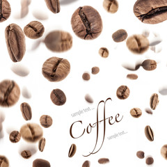 Flying coffee beans, on white background (with sample text)