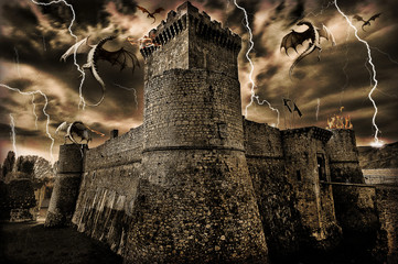 Wall Murals Dragons castello e draghi
