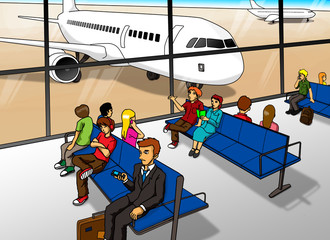 Cartoon illustration of people waiting at the airport
