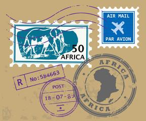 Set of Africa post stamp symbols, vector