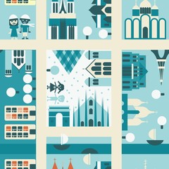 Printed roller blinds On the street winter street seamless backgrounds