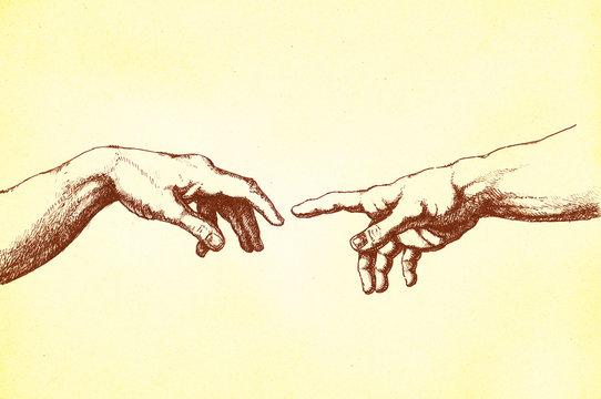 Michelangelo Erschaffung Adams' Hände