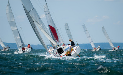 Deurstickers Zeilen group of yacht sailing at regatta