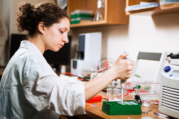 Researcher works at lab