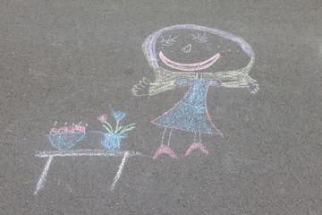 Kreidemalerei von Kindern auf der Straße