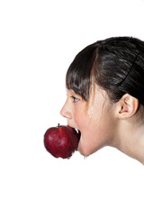 Girl gets the apple.