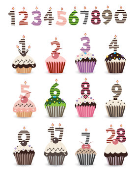 Number Candles Cupcake for Birthday