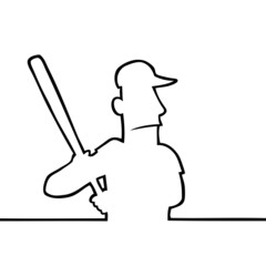 Black line art illustration of a baseball player with bat.