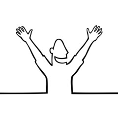 Black line art illustration of a happy person with open arms.
