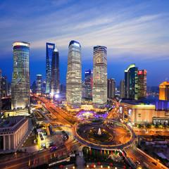 Aluminium Prints Shanghai aerial view of shanghai skyline at night