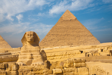 Great Sphinx Giza Pyramid Clear Blue Sky