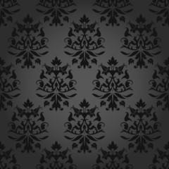 Seamless Flowers/Leafs Damask Pattern Dark