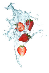 Fotorolgordijn Opspattend water Strawberry