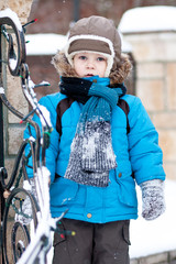 A little boy on winter walk