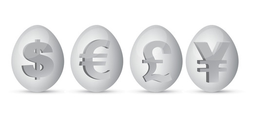 currency eggs illustration over a white background