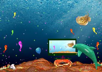 Poster Submarine Landscape: sea inhabitants watch monitor