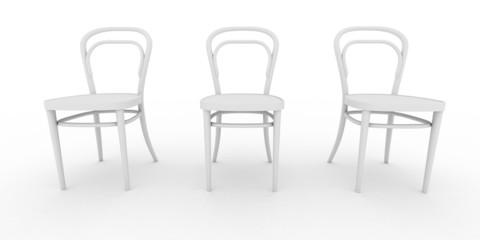 Drei weiße Stühle
