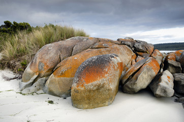 Granite boulders under storm clouds at Tasmanian beach