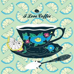 Vector Cup of Coffee Card With Spoon and Lemons