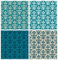 4 Seamless Flowers/Leafs Damask Pattern Blue