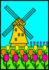 Vector illustration of a windmill among tulip flowers