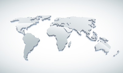 3d Vector World Map.