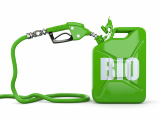 Biofuel. Gas pump nozzle and jerrycan