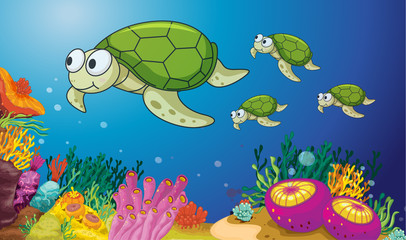 Printed roller blinds Submarine turtles