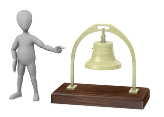 3d render of cartoon character with bell