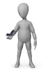 3d render of cartoon character with caterpillar