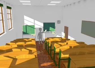 3d render of cartoon character in classroom teaching