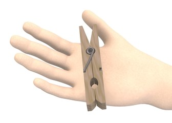 3d render of hand with peg